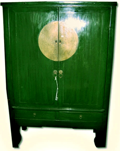LE-001_green_wedding_cabinet21281307277.jpg - Antique Chinese Green Moon Disc Wedding Cabinet :: Zitan